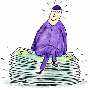 Happy Man Sitting on Pile of Money